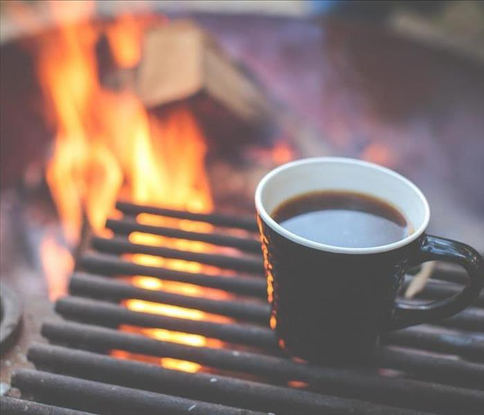 Fire pit with warm coffee