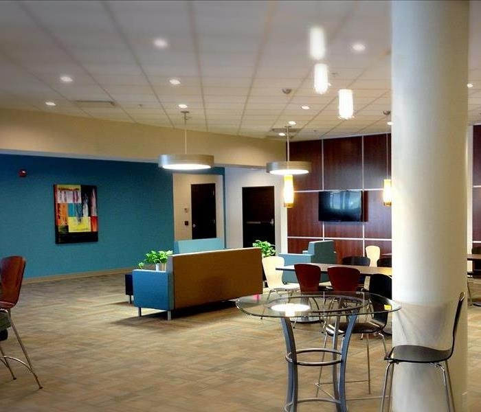 Office lobby with turquoise chairs
