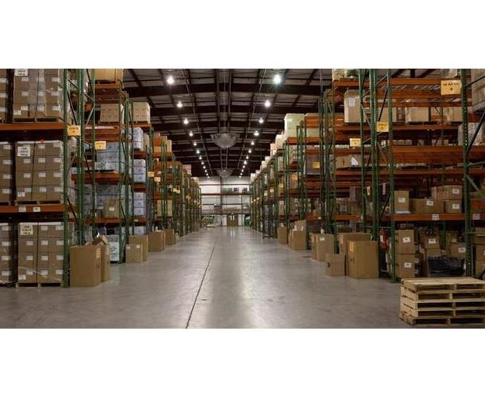 Commercial warehouse with shelves