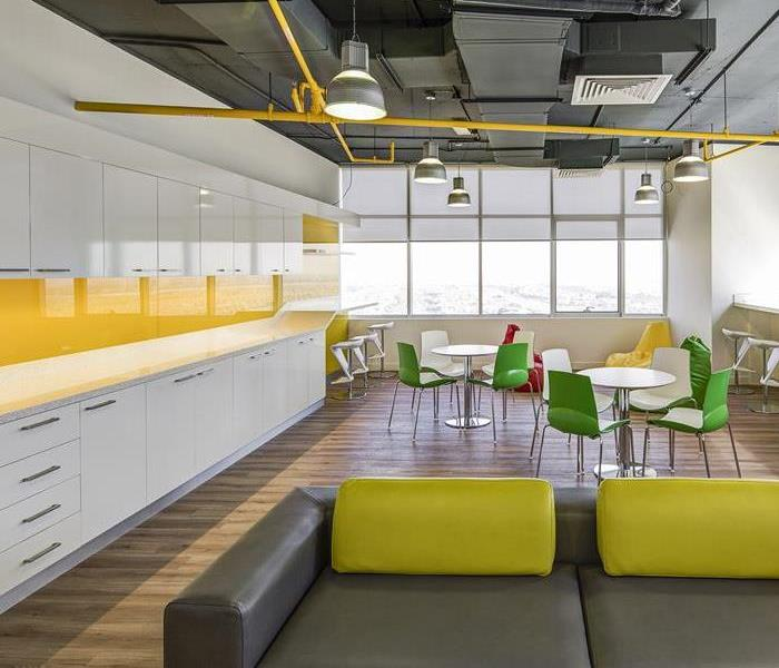 modern yellow and white office kitchen