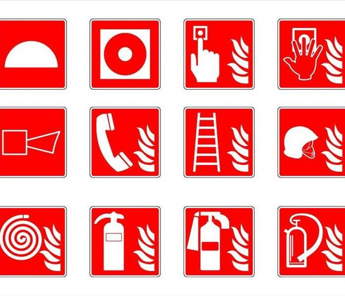 Red and white safety symbols for fire